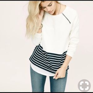 Lou & Grey White & Navy Stripe Sweatshirt w Zipper